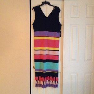 V-neck Stripped Dress with tassel embellishment